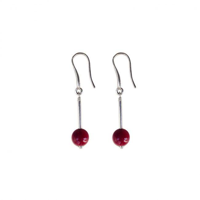 Boucles d'oreilles satellite rouge en argent massif et corail Natacha Audier Paris