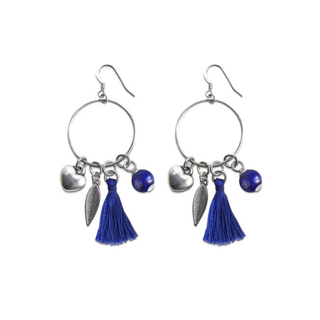 Boucles d'oreilles Far away bleu en lapis lazuli et argent Natacha Audier Paris