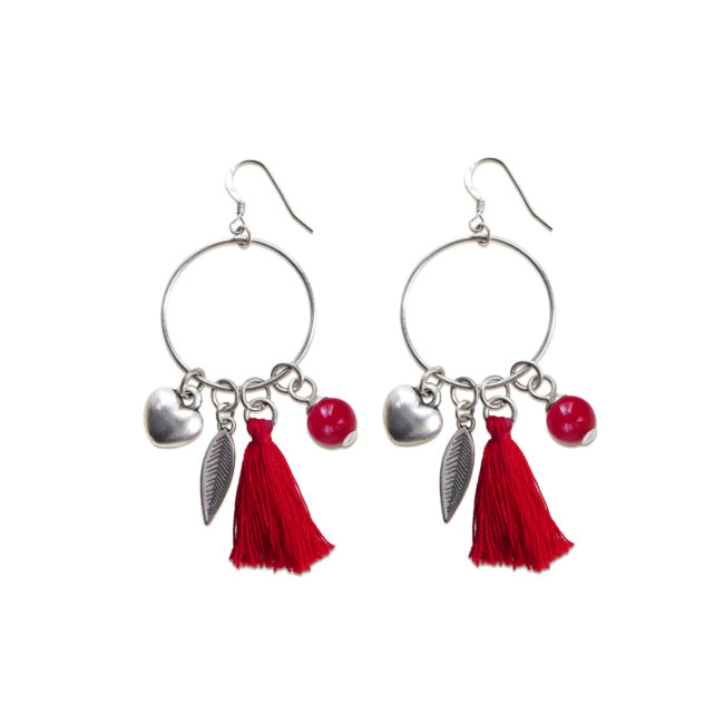 Boucles d'oreilles Far away rouge en corail et argent Natacha Audier Paris