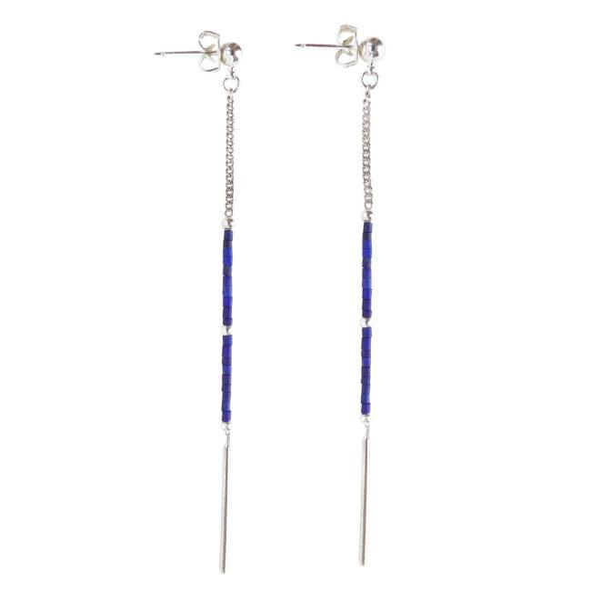 Boucles d'oreilles chaine en lapis lazuli et argent Natacha Audier Paris