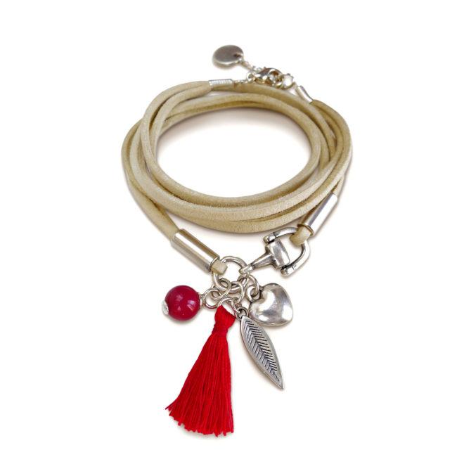 Bracelet Etrier rouge en suédine, corail et argent Natacha Audier Paris