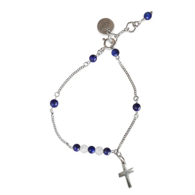 Bracelet Faith bleu en argent massif et lapis lazuli Natacha Audier Paris