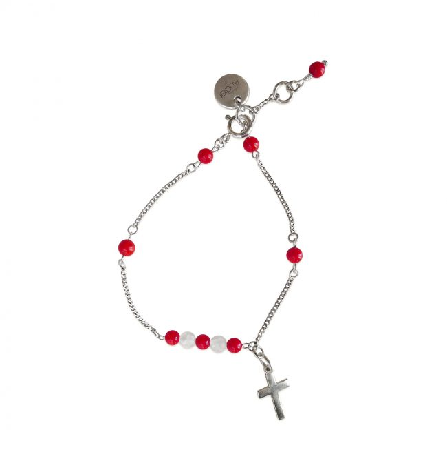 Bracelet Faith rouge en argent massif et corail Natacha Audier Paris