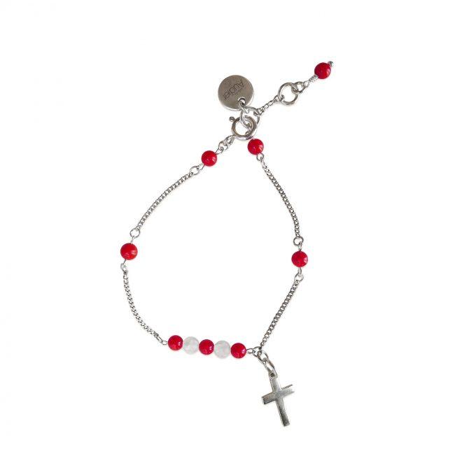 Bracelet Faith rouge en argent massif et corail Natacha Audier Paris