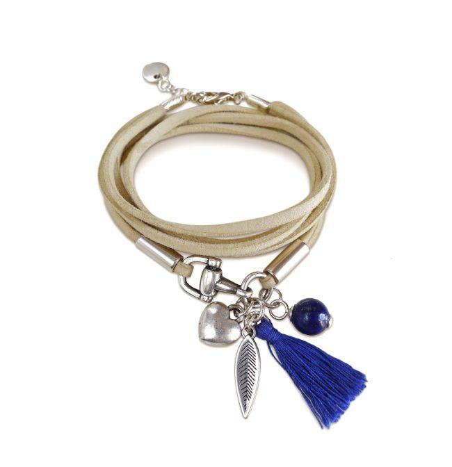 Bracelet étrier bleu en suédine, lapis lazuli et argent Natacha Audier Paris