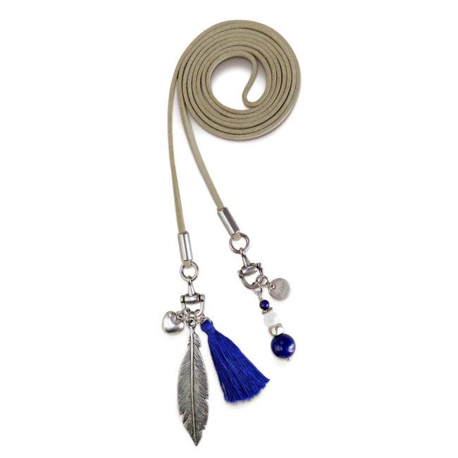Collier ceinture Etrier bleu en suédine, lapis lazuli et argent. Natacha Audier Paris