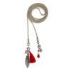 Collier ceinture Etrier rouge en suédine, corail, cristal et argent Natacha Audier Paris