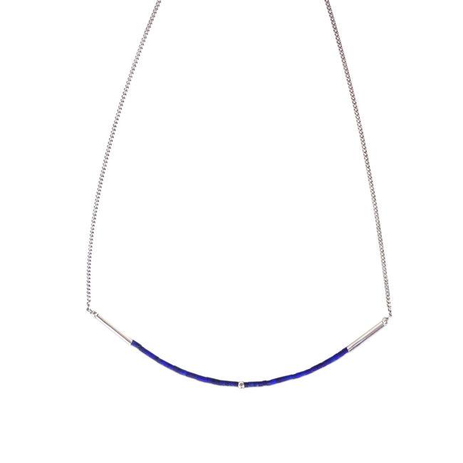 Collier tour de cou Infinity en lapis lazuli et argent Natacha Audier Paris