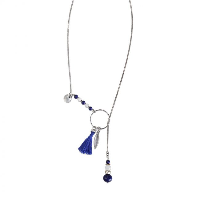 Collier coulissant Far away bleu en argent 925 et lapis lazuli Natacha Audier