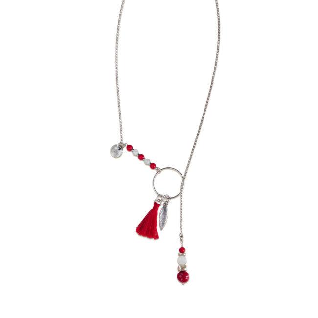 Collier coulissant Far away rouge en corail, cristal de roche et hématite sur chaine argent 925. Natacha Audier Paris