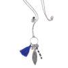 Sautoir Far away bleu en lapis lazuli et cristal de roche sur chaine argent 925. Natacha Audier Paris