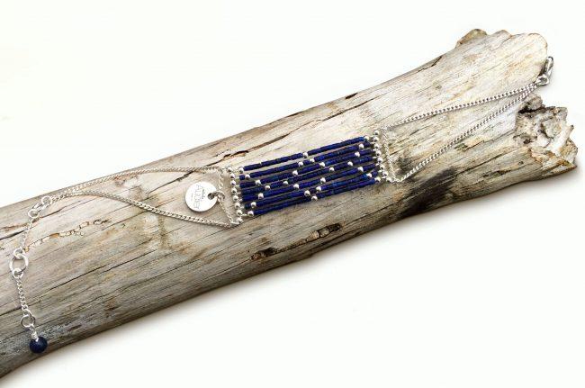 Bracelet Isis Infinity en apis lazuli et argent massif Natacha Audier Paris