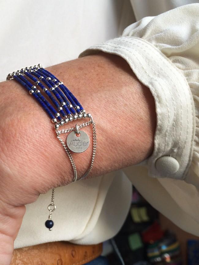 Bracelet Isis en lapis lazuli et argent massif Natacha Audier Paris