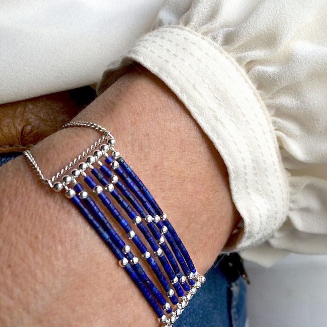 Bracelet isis en lapis lazuli et argent Natacha Audier Paris