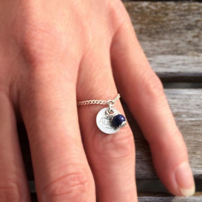 Bague Skin NA en argent 925 et lapis lazuli Natacha Audier Paris