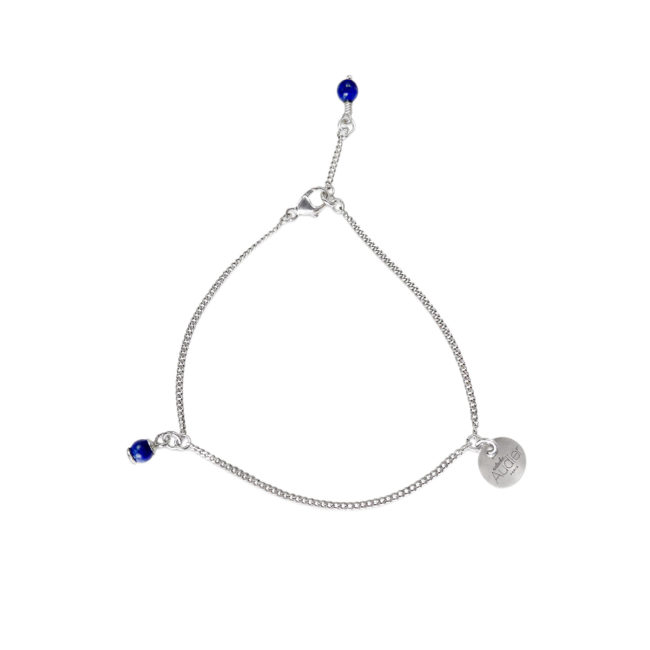 Bracelet Skin en argent massif et lapis lazuli Natacha Audier Paris