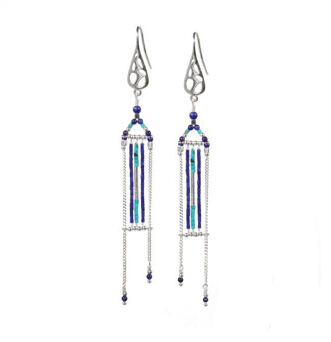 Boucles d'oreilles Arizona Blue en argent, lapis lazuli et turquoise Natacha Audier Paris