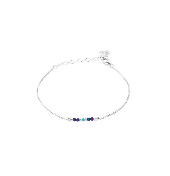 Bracelet fin Arizona Blue en argent, lapis lazuli et turquoise Natacha Audier Paris