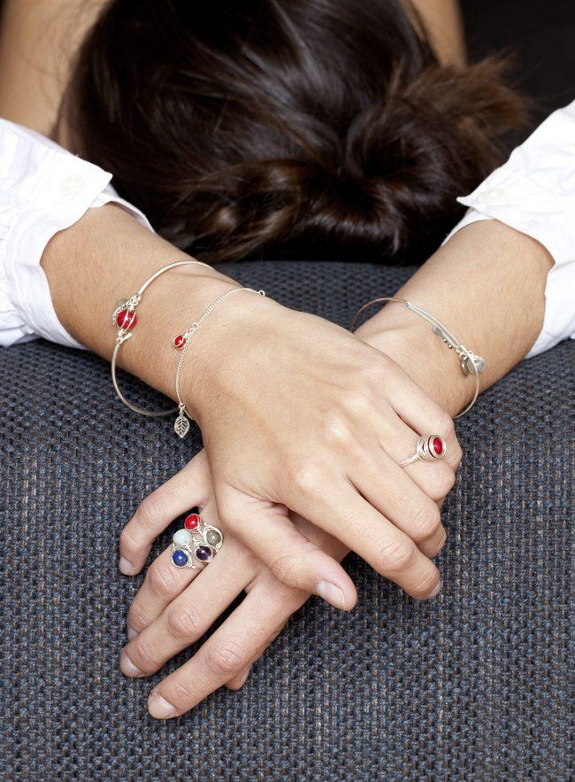 Bracelet jonc Thelma en amazonite et argent massif et bagues Thelma et louise Natacha Audier Paris