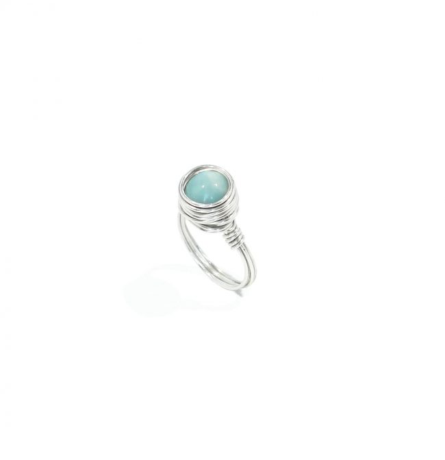 Bague Louise en amazonite et argent massif Natacha Audier Paris