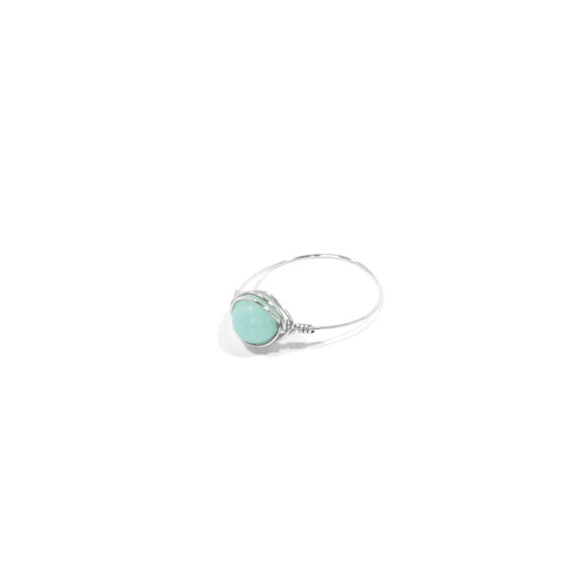 Bague fine Louise en amazonite et argent massif Natacha Audier Paris