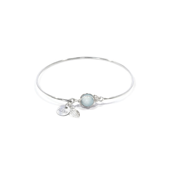 Bracelet jonc Louise en amazonite et argent massif Natacha Audier Paris