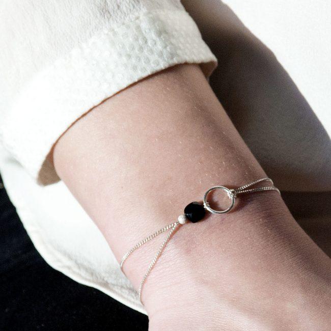 Bracelet onyx et argent massif My precious Natacha Audier Paris