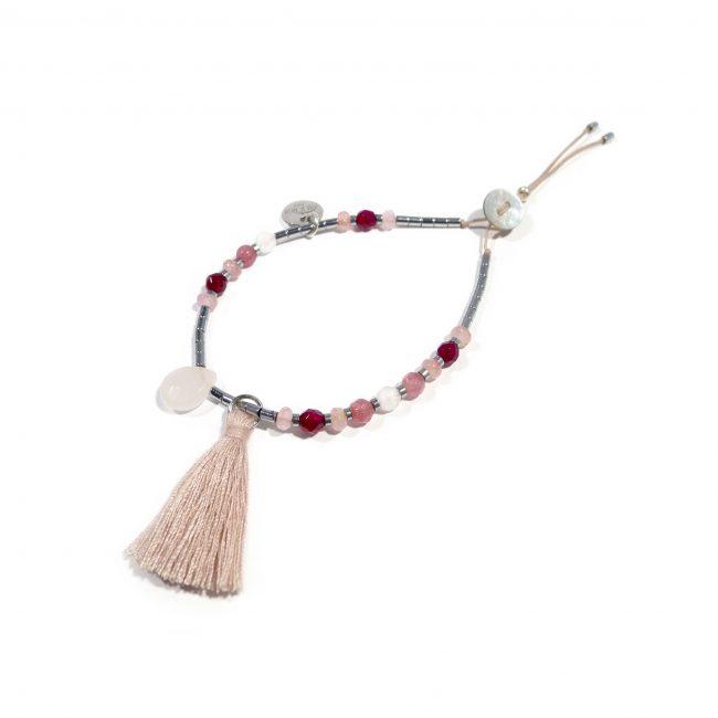 Bracelet agate rose et hématite Indian summer Natacha Audier Paris