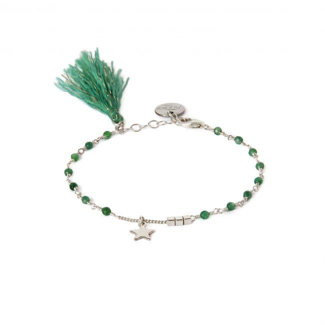 Bracelet agate mousse et argent massif Indian spirit Natacha Audier Paris