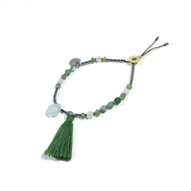 Bracelet agate verte et hématite Indian summer Natacha Audier Paris