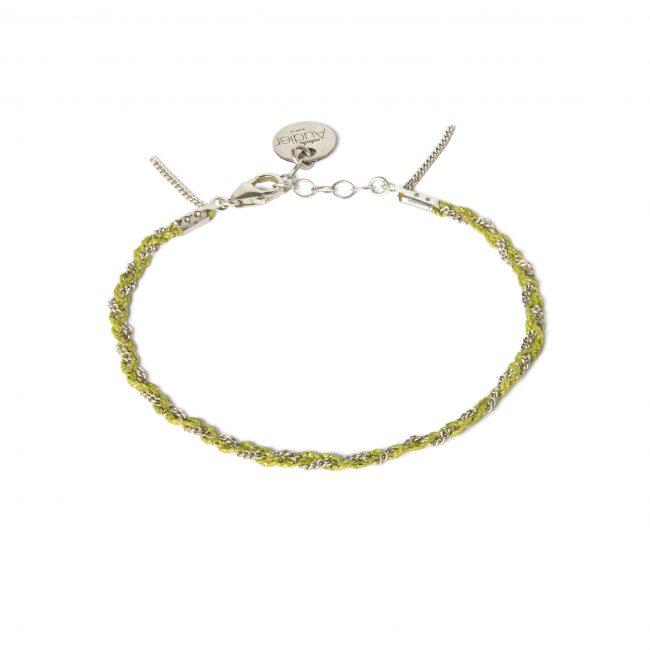Bracelet tressé fil anis et argent massif Jazz Natacha Audier Paris