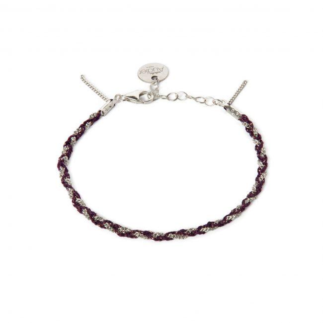 Bracelet tressé fil grenat et argent massif Jazz Natacha Audier Paris