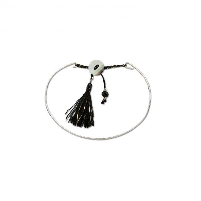 Bracelet jonc en argent massif noir Jazz Natacha Audier Paris
