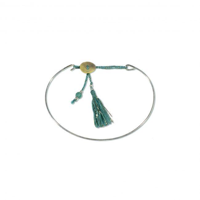 Bracelet jonc en argent massif vert Jazz Natacha Audier Paris