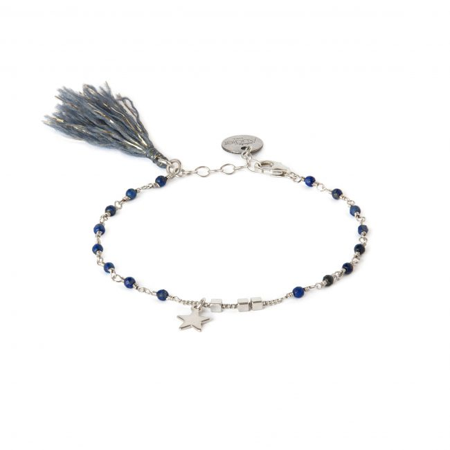 Bracelet lapis lazuli et argent massif Indian spirit Natacha Audier Paris