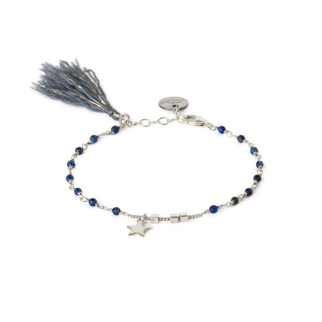 Bracelet lapis lazuli et argent massif Indian spirit Natacha Audier Paris
