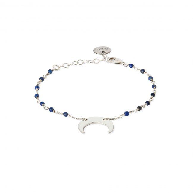 Bracelet lapis lazuli et argent massif Mezza luna Natacha Audier Paris