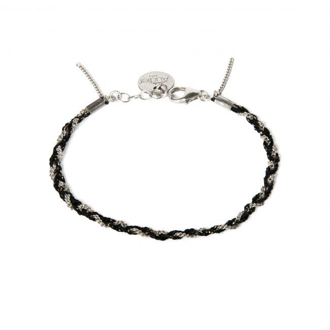Bracelet tressé fil noir et argent massif Jazz Natacha Audier Paris