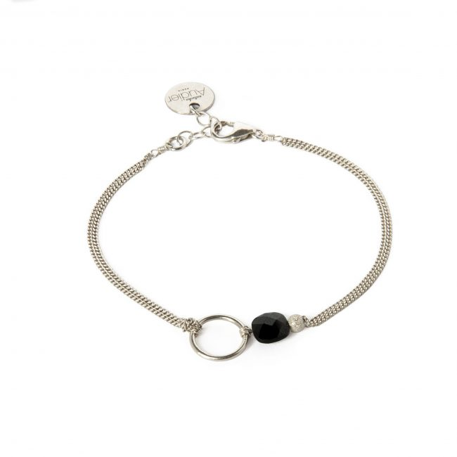 Bracelet onyx noir et argent massif My precious Natacha Audier Paris
