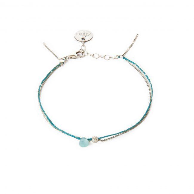 Bracelet onyx bleu clair et argent massif Sweet Jane Natacha Audier Paris