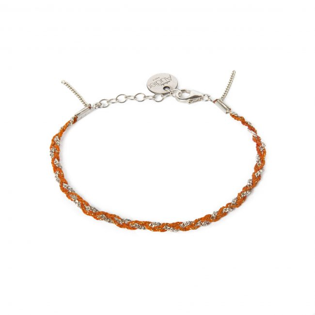 Bracelet tressé fil orange et argent massif Jazz Natacha Audier Paris