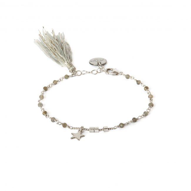 Bracelet pierre de lune et argent massif Indian spirit Natacha Audier Paris