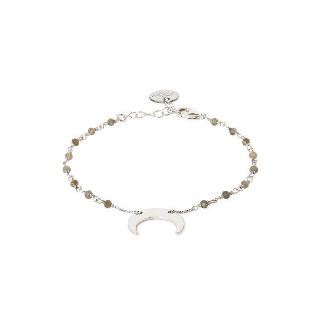 Bracelet pierre de lune et argent massif Mezza luna Natacha Audier Paris