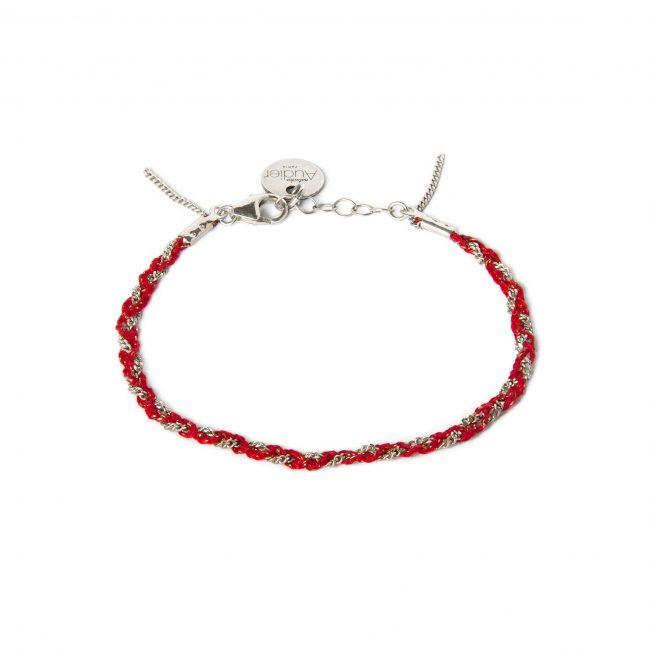 Bracelet tressé fil rouge et argent massif Jazz Natacha Audier Paris