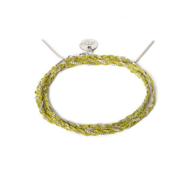 Bracelet 3 tours tressé fil anis et argent massif Jazz Natacha Audier Paris