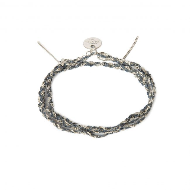 Bracelet 3 tours tressé fil bleu et argent massif Jazz Natacha Audier Paris