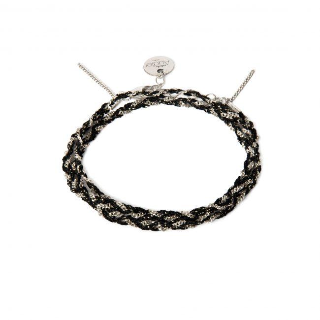 Bracelet 3 tours tressé fil noir et argent massif Jazz Natacha Audier Paris