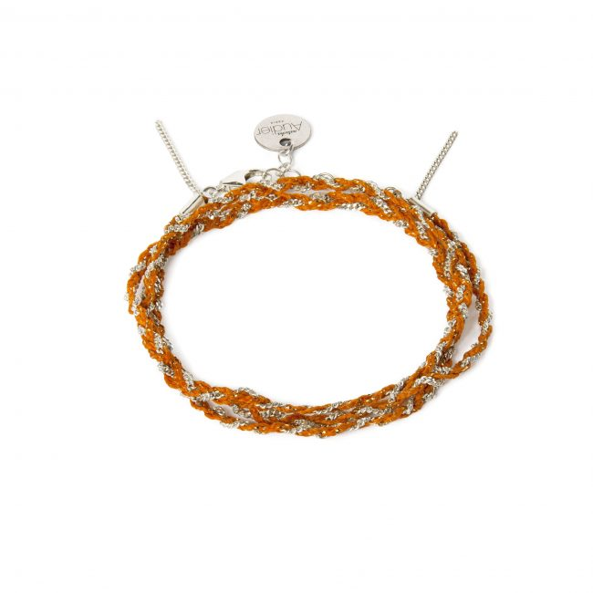 Bracelet 3 tours tressé fil orange et argent massif Jazz Natacha Audier Paris