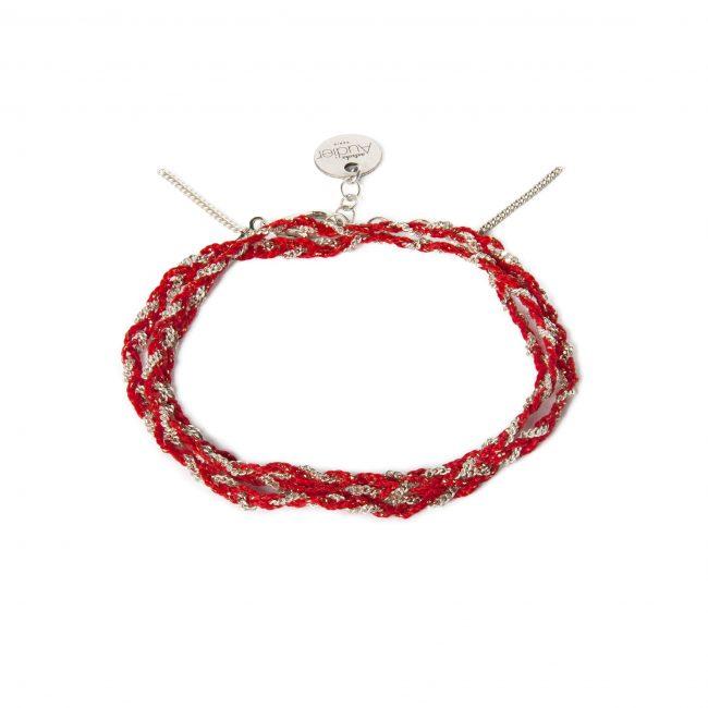 Bracelet 3 tours tressé fil rouge et argent massif Jazz Natacha Audier Paris