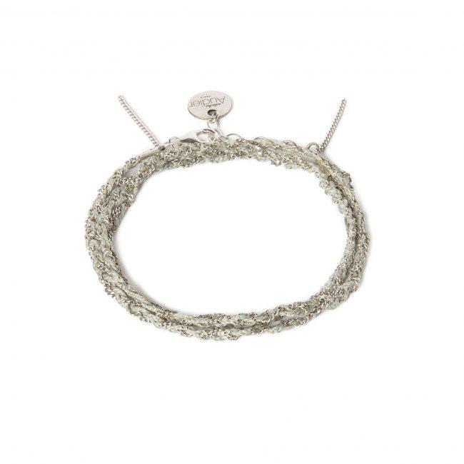 Bracelet 3 tours tressé fil gris et argent massif Jazz Natacha Audier Paris